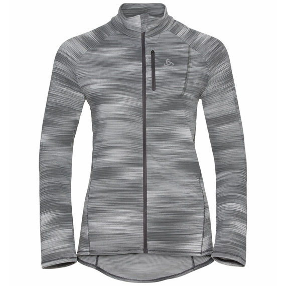 Women's FLI LIGHT PRINT Full-Zip Midlayer, odlo silver grey - graphic SS21, large