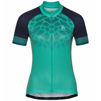 Maillot Cycle zippé à manches courtes ELEMENT PRINT pour femme, pool green - diving navy, large