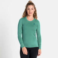 Women's NATURAL 100% MERINO WARM Long-Sleeve Base Layer Top, malachite green - grey melange, large