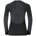 SUW Top Natural + X-Warm langärmeliges Oberteil mit Rundhalsausschnitt, black melange, large