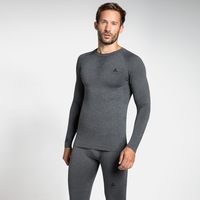 Men's PERFORMANCE WARM Long-Sleeve Baselayer Top, grey melange - black, large
