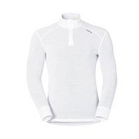Men's ACTIVE WARM 1/2 Zip Turtle-Neck Long-Sleeve Base Layer Top, white, large