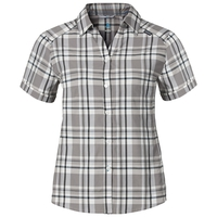 ANMORE Camicia a maniche corte donna, black - odlo concrete grey - white - check, large