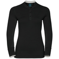 Natural 100 Merino Warm baselayer shirt stand-up collar women, black - snow white, large