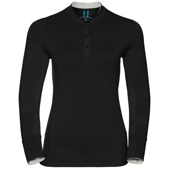 Natural 100 Merino Warm baselayer shirt stand-up collar women, black - snow white, large