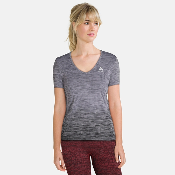 BL Top V-neck s/s MaIa Seamless, odlo steel grey - black, large