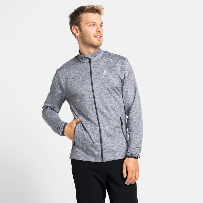 Men's ALAGNA Full-Zip Mid Layer Top, grey melange, large