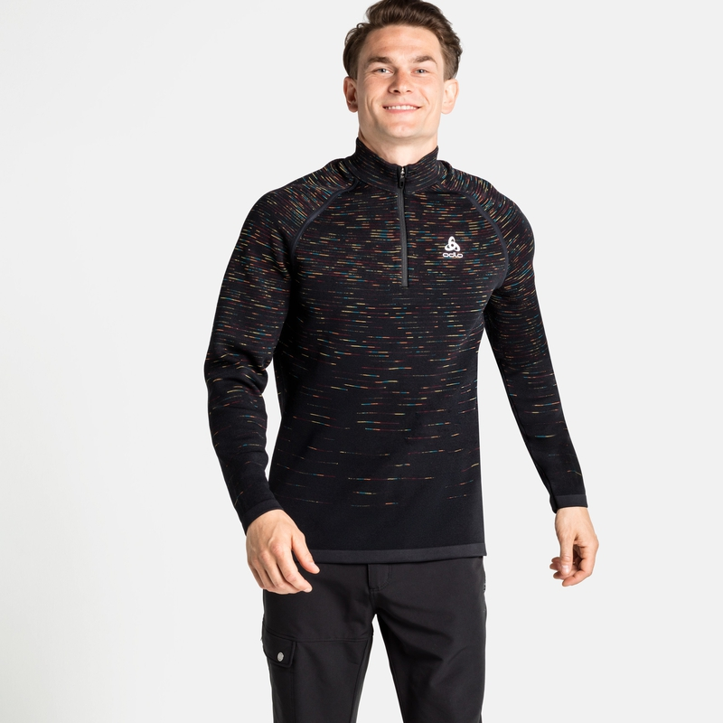 The Blackcomb 1/2 Zip Mid Layer, black - space dye, large