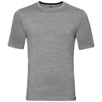 Natural 100 Merino Warm baselayer shirt short sleeve men, grey melange - black, large
