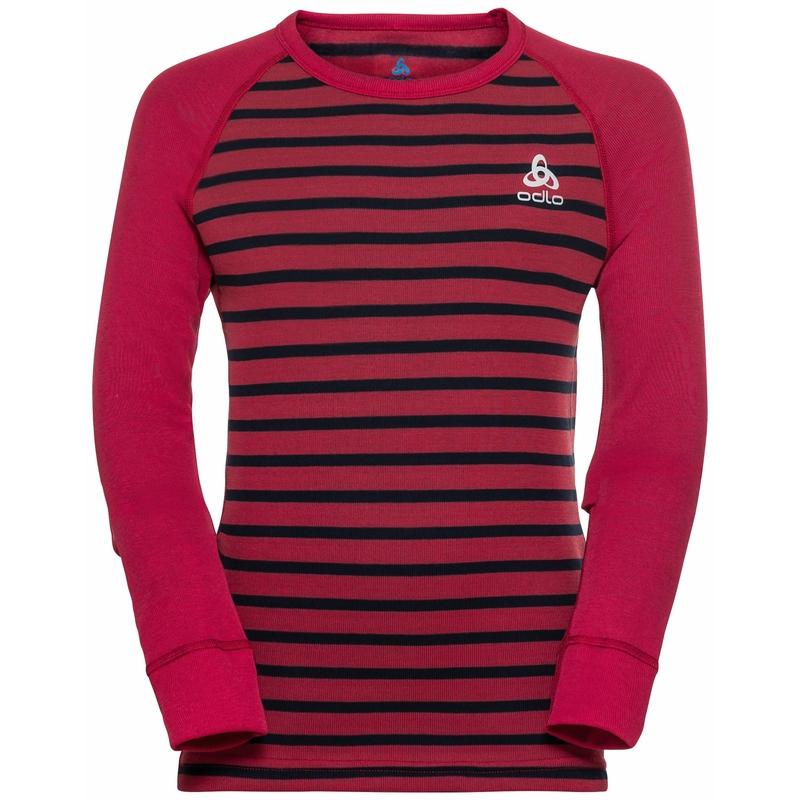 The Active Warm ECO kids stripes long sleeve, deep claret - dark sapphire, large