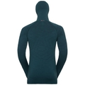 Men's NATURAL + KINSHIP WARM Base Layer Top with Face Mask, blue coral melange, large