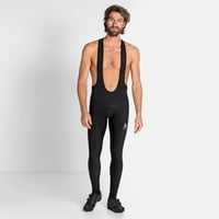 Men's ZEROWEIGHT CERAMIWARM Cycling Tights with Suspenders, black, large