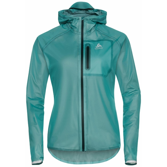 Women's ZEROWEIGHT DUAL DRY Waterproof Running Jacket, jaded, large