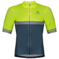 Maillot Cycle zippé à manches courtes pour homme ZEROWEIGHT CERAMICOOL, safety yellow (neon) - bering sea, large
