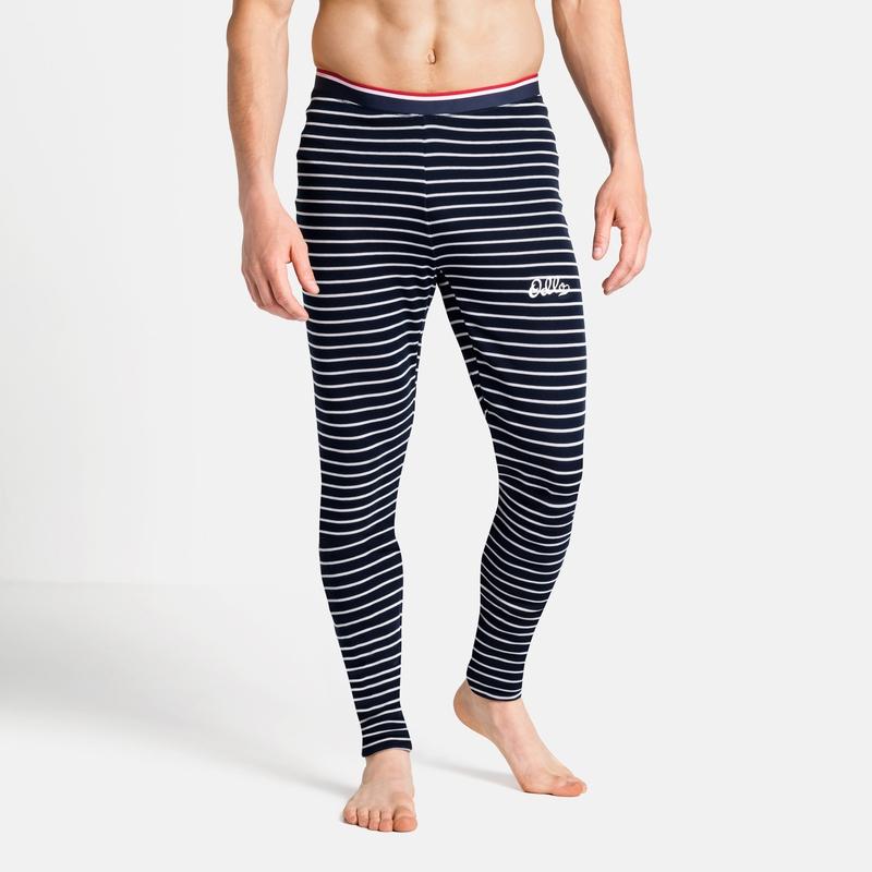 The Active Warm Originals ECO Stripe bottoms, dark sapphire - odlo silver grey, large
