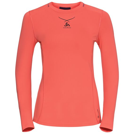 Ceramicool pro baselayer shirt longsleeve women, hot coral - pickled beet, large