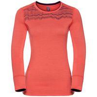 Shirt l/s crew neck NATURAL 100% MERINO PRINT WARM, hot coral - pickled beet, large