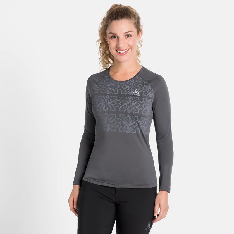 Damen NILLIAN Langarmshirt, odlo graphite grey - graphic FW20, large