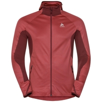 Hoody midlayer full zip BLAZE ZW CERAMIWARM, syrah - fiery red - stripes, large
