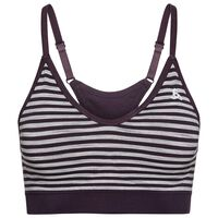 Sports Bra PADDED SEAMLESS SOFT, plum perfect - grey melange, large