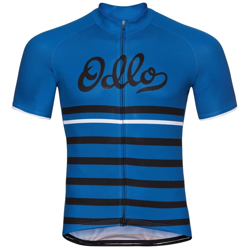 Men's FUJIN PRINT Short-Sleeve Cycling Jersey, energy blue - black - retro, large