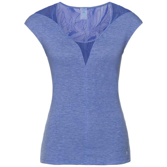 SUW Top Crew neck s/s Natural + X-Light, dazzling blue melange, large
