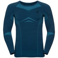PERFORMANCE EVOLUTION WARM-basislaagtop met lange mouwen voor heren, poseidon - blue jewel, large