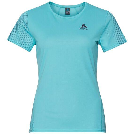 SHAILA PRINT running Shirt women, blue radiance with TRAIN print FW17, large