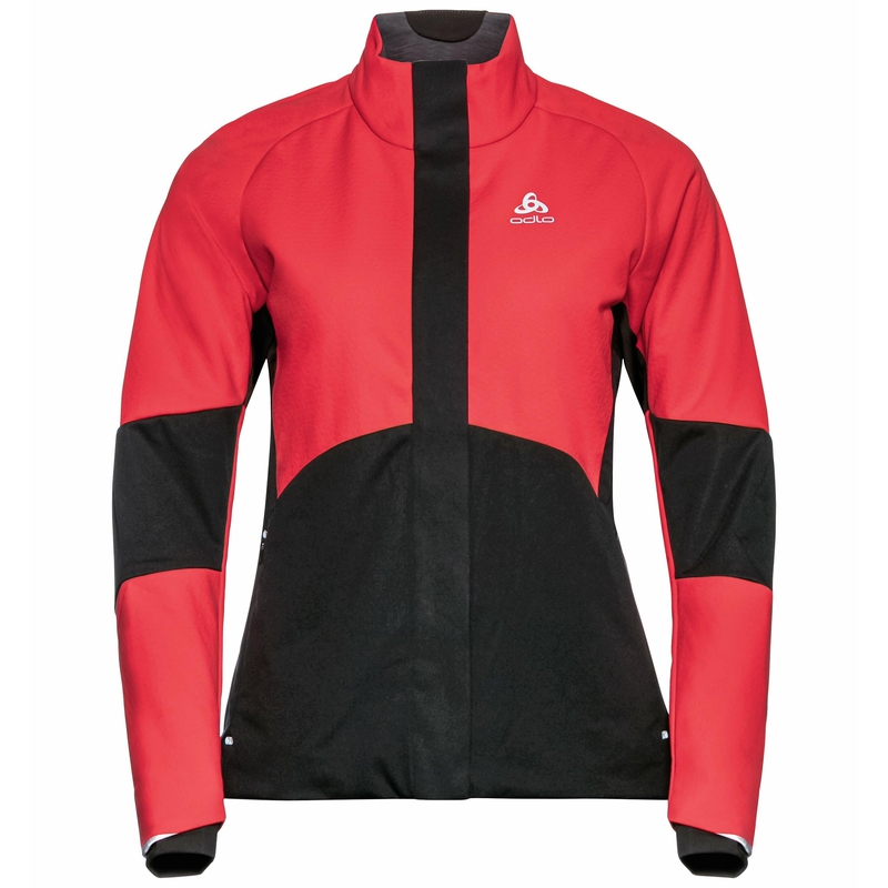 The Silsand jacket, poppy red - black, large