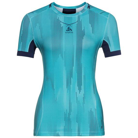 Ceramicool pro baselayer shirt with print women, blue radiance - peacoat, large