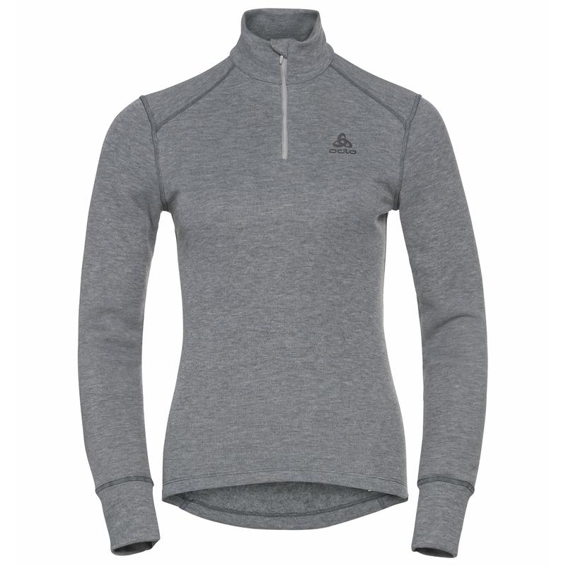 T-shirt à col montant zippé ACTIVE WARM ECO pour femme, odlo steel grey melange, large