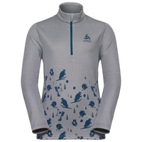 Pull ½ zippé CARVE KIDS LIGHT pour enfant, odlo concrete grey melange - placed print FW18, large