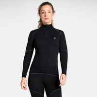 Women's ACTIVE X-WARM 1/2 Zip Turtle-Neck Long-Sleeve Base Layer Top, black, large
