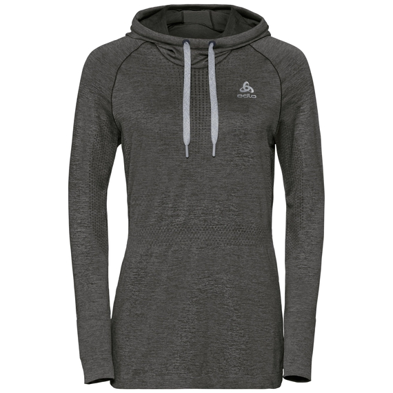 Damen IRBIS WARM Hoody Midlayer, black - odlo steel grey, large