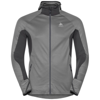 Men's BLAZE CERAMIWARM Midlayer Hoody, odlo graphite grey - odlo concrete grey - stripes, large