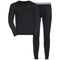 Herren NATURAL 100% MERINO WARM Baselayer-Set, black - black, large