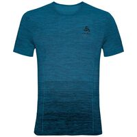 BL TOP Crew neck s/s SEAMLESS KAMILERO X, blue jewel, large