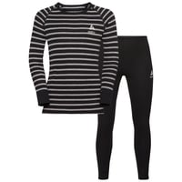 ACTIVE WARM KIDS-basislaagset, black - grey melange - stripes, large