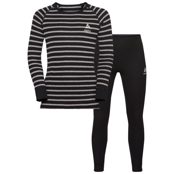 Completo ACTIVE WARM KIDS per bambini, black - grey melange - stripes, large