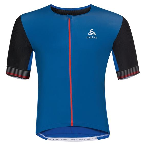 CERAMICOOL X-LIGHT kurzärmeliges Shirt mit durchgehendem Reißverschluss, energy blue - black, large