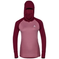 SVS top à cagoule manches longues active Revelstoke Warm, rumba red - mesa rose, large