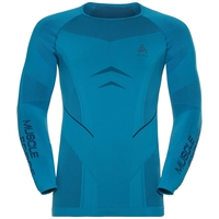 SUW langermet overdel med rund hals Performance MUSCLE force RUNNING Warm, blue jewel - poseidon, large