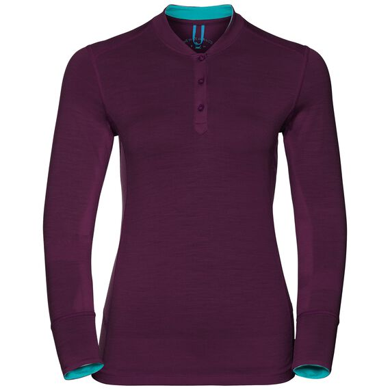 Natural 100 Merino Warm baselayer shirt stand-up collar women, pickled beet - blue radiance, large
