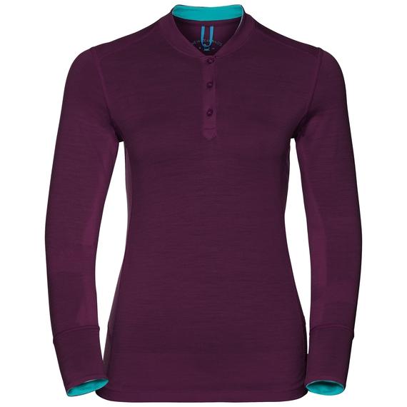Natural 100 Merino Warm baselayer shirt stand-up collar women, pickled beet - blue radiance, large