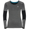 BL TOP Crew neck l/s KUMANO ACTIVE, black - odlo silver grey - stripes, large