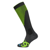 Socks extra long SKI MUSCLE FORCE WARM, odlo graphite grey - safety yellow, large