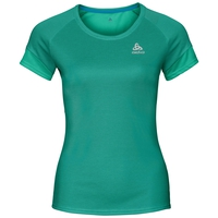 Women's KUMANO ACTIVE Base Layer T-Shirt, pool green - crystal teal - stripes, large