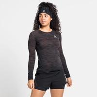 Women's BLACKCOMB CERAMICOOL Long-Sleeve Running T-Shirt, black - space dye, large