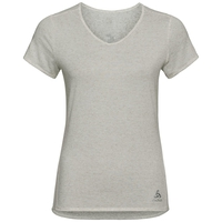 LOU LINENCOOL-shirt met korte mouwen voor dames (Also V-Neck in Workbook), light grey melange, large