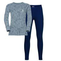 WARM KIDS Set baselayer shirt & pants, peacoat - grey melange, large